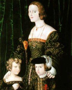 Juana la Loca con sus hijos Fernando y Carlos