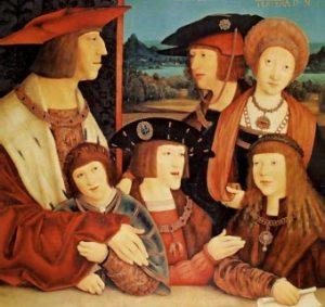 La familia del emperador Maximiliano; en el centro, su nieto Carlos V (retrato de Bernhard Strigel)